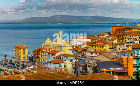 Editorial: 8th October 2017: Porto Santo Stefano, Italy. Landscape seaside aerial panoramic view, sunny weather - Stock Photo