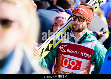Planica, Slovenia. 24th Mar, 2018. Markus Eisenbichler of Germany at Planica FIS Ski Jumping World Cup finals on March 24, 2017 in Planica, Slovenia. Credit: Rok Rakun/Pacific Press/Alamy Live News - Stock Photo