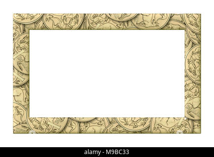 Australian one dollar coins frame on a white background. It is isolated, the worker of paths is present. - Stock Photo