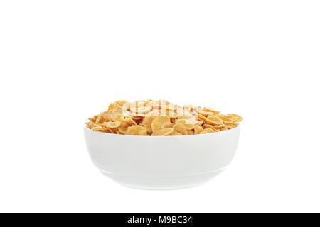Corn flakes breakfast cereal in a white bowl over white background isolated - Stock Photo
