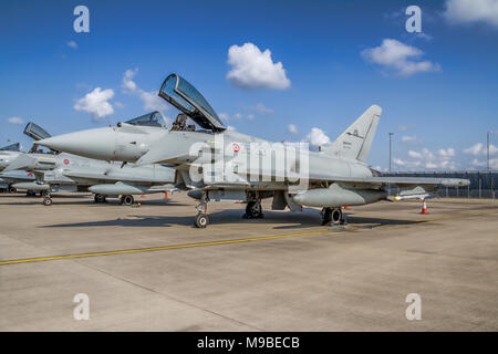 Eurofighter F-2000A Typhoon MM7293/36-33 of 36° Stormo Italian Air Force pictured on the flight line at RAF Waddington UK in 2011. - Stock Photo