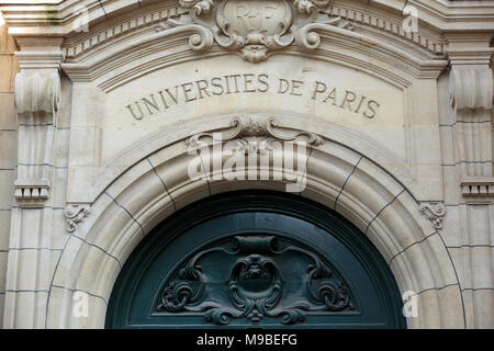 Sorbonne University in Paris. Name is derived from College de Sorbonne, founded in 1257 by Robert de Sorbon as one of the first colleges of medieval U - Stock Photo