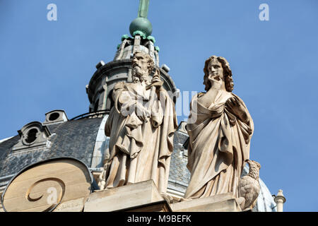 Fragment of facade of the Chapelle de la Sorbonne in Paris, France - Stock Photo