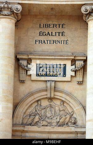 Paris University- Faculty of Law near the Pantheon. Paris. France - Stock Photo