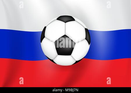 Realistic 3D drawing flag (white-blue-red) of the Russian Federation (Russia) with a football of black and white color. Vector Illustration - Stock Photo