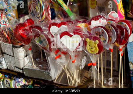 Vrnjacka banja, Serbia, January 25, 2018: colorful candy and sweets on sale in front of small store - Stock Photo