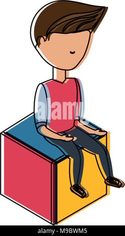 avatar young man sitting on a cube seat over white background, colorful design. vector illustration - Stock Photo