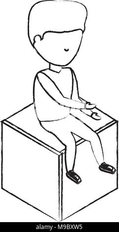 sketch of avatar man sitting on a cube seat over white background, vector illustration - Stock Photo