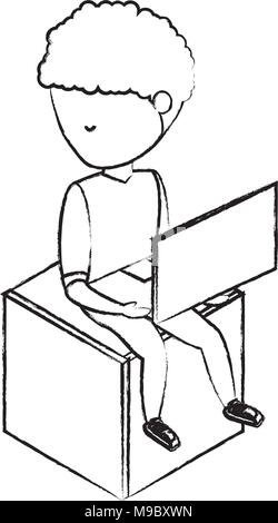 sketch of avatar young man sitting on a cube seat and using a laptop computer over white background, vector illustration - Stock Photo