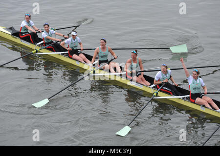 London, UK, 24 Mar 2018. Cambridge women celebrating their win just after crossing the finish line in The Cancer Research UK Women's Boat Race.  L to R: Bow - Tricia Smith (GBR, Christ's), Imogen Grant (GBR, Trinity), Kelsey Barolak (USA, Homerton), Thea Zabell (GBR, Downing), Paula Wesselmann (GER, Jesus), Alice White (GBR/NZL, Homerton), Myriam Goudet-Boukhatmi (FRA, Lucy Cavendish).     the victory tally b Credit: Michael Preston/Alamy Live News - Stock Photo