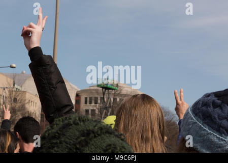 Washington DC, USA, March 24, 2018. March For Our Lives.  After the mass shooting at Majorie Stoneman Douglas High School in Parkland, Florida, students from all over the world mobilize to end gun violence. Credit: Tom Collins/Alamy Live News - Stock Photo