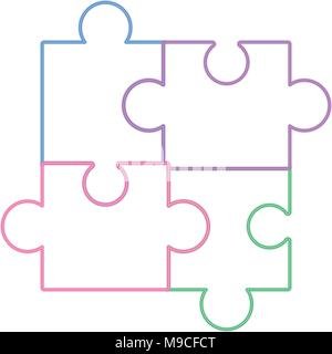 puzzle pieces icon over white background, colorful line design. vector illustration - Stock Photo