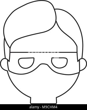 cartoon thief face icon over white background, vector illustration - Stock Photo