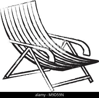 sketch of beach chair icon over white background, vector illustration - Stock Photo