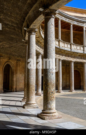Circular courtyard of the Palace of Charles V (Palacio de Carlos V - La Alhambra). - Stock Photo