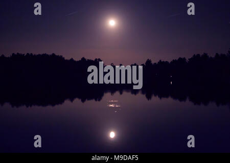The super moon reflected in a lake on a dark purple night sky with tree silhouettes. - Stock Photo
