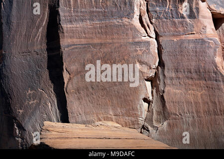 Petroglyphs, Canyon de Chelly National Monument, Chinle, AZ - Stock Photo