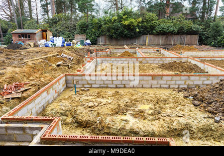 Lovely ... Brick And Breeze Block Foundations For A New House On A Construction  Site For A New