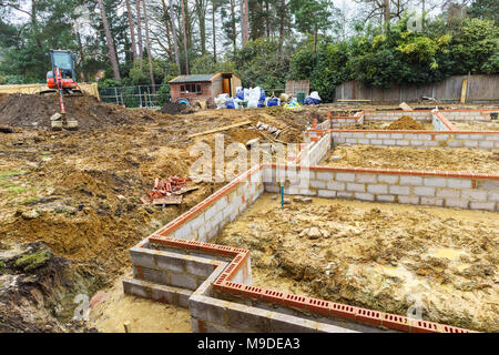 Charming ... Brick And Breeze Block Foundations For A New House On A Construction  Site For A New