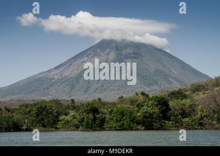 Volcan Concepcion visible from Charco Verde Nature Reserve on Ometepe Island - Nicaragua, Central America - Stock Photo