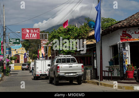 Colourful Moyogalpa town at the foot of Concepcion volcano on Ometepe Island in Nicaragua, Central America - Stock Photo
