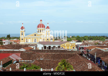 Our Lady of the Assumption Cathedral in Granada, Nicaragua - Stock Photo