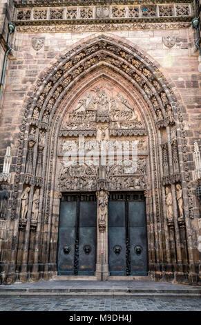 West portal doorway of St Lorenz Church - Nuremberg - Stock Photo
