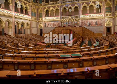 Debating chamber of the Hungarian Parliament Building, Budapest - Stock Photo