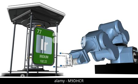 Iridium symbol in square shape with metallic edge in front of a mechanical arm that will hold a chemical container. 3D render. Element number 77 - Stock Photo