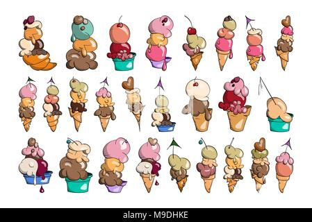 Ice cream Collection with ball and cone, doodle vector illustration, creamy chocolate, pistachio, vanilla and waffle - Stock Photo