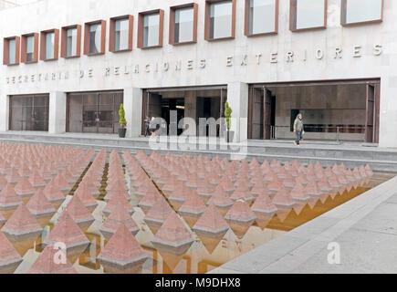 The ground floor of the Secretaria de Relaciones building in the colonial center of Mexico City, Mexico. - Stock Photo