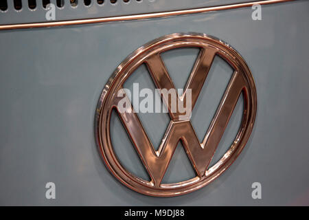 VW, Volkswagen, Logo. Techno-Classica Essen is the world leading automobile show for classic and vintage cars and collectible automobiles. In 2018, the motor show attracted over 185,000 visitors. More than 1,250 exhibitors from over 30 countries take part. - Stock Photo