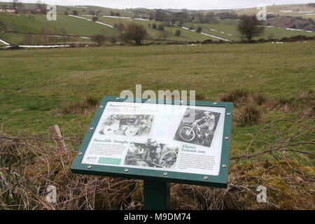 Tourist Information Board at Winster near Elton in The Derbyshire Peak District - Stock Photo