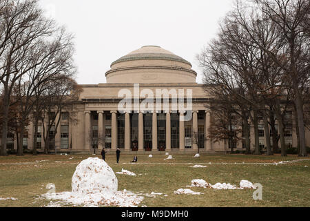 The Great Dome atop Building 10 (Maclaurin Buildings) looks out on Killian Court on a cold winter day. - Stock Photo