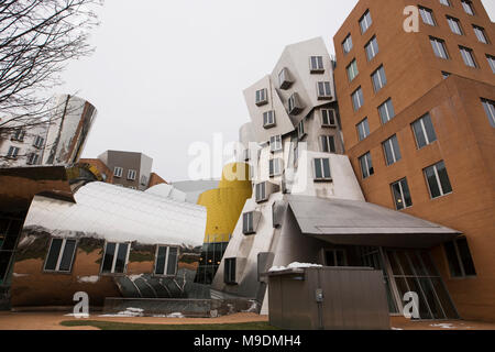 The Ray and Maria Stata Center, designed by architect Frank Gehry, at the Massachusetts Institute of Technology in Cambridge, Massachusetts. - Stock Photo