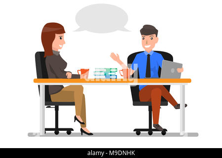 Business Man And Woman Talking Discussing, Businesspeople Chat Sitting in office Communication. business cartoon character concept Vector Illustration - Stock Photo