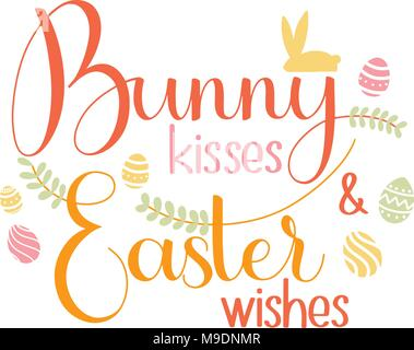 Bunny kisses and easter wishes lettering happy easter colorful bunny kisses and easter wishes lettering happy easter colorful lettering hand written easter phrases m4hsunfo