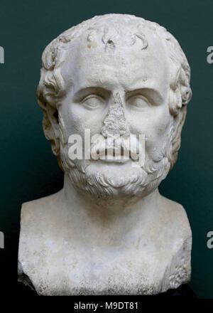 Portrait of Aeschines (390-314 BC), Athenian orator and politician. Roman copy of a Greek original of 320 BC. Marble. Carlsberg Glyptotek. - Stock Photo