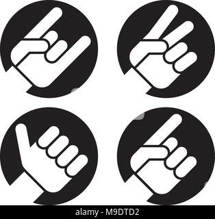 Set of four flat hand gesture vector icons of hands making classic recognizable signs. Includes Sign of the Horns, Peace Sign, Thumbs Up and Pointing. - Stock Photo