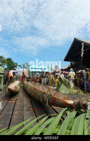 Boat Maneuver at Cultural Festival Asmat, Papua, Indonesia - Stock Photo