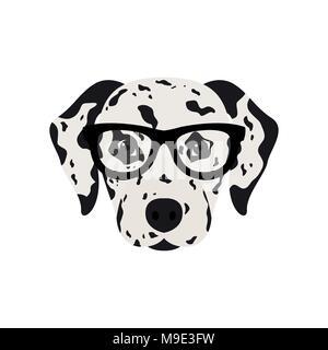 Dalmatian dog in glasses. Cute dog vector illustration. - Stock Photo