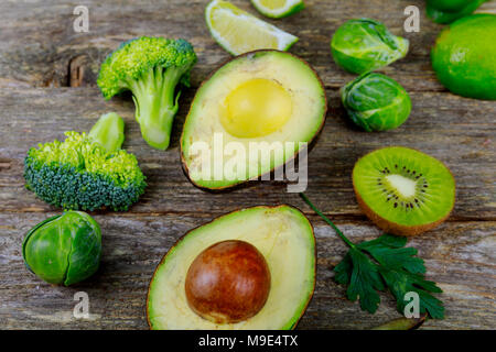 Fresh garden herbs on wooden table. Top view with Diet or vegetarian food concept, - Stock Photo