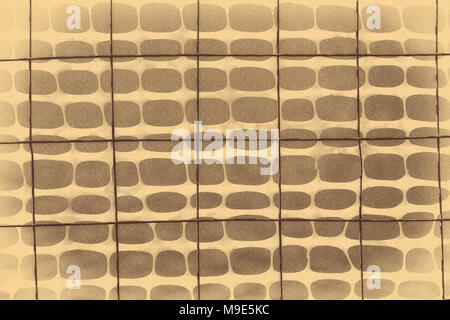 Dark wire grid and plastic protective mesh, stylized in beige or light brown color, dark smooth background - Stock Photo