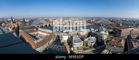Beautiful super wide-angle sunny aerial view of Dresden.