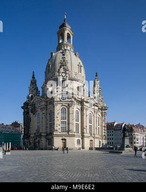 Frauenkirche Dresden on a sunny day with blue sky, Germany. - Stock Photo
