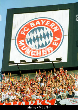 Stadium Camp Nou, Barcelona, Spain 26.5.1999 UEFA Champions League Final :  Manchester United vs  FC Bayern Munich 2:1 --- Munich fans celebrate unde the logo of their club before the match - Stock Photo