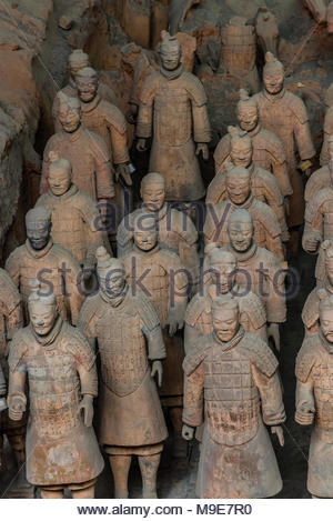 Pit 1, the excavation site of the Terracotta Army of Emperor Qin Shi Huang, the first emperor of China. The Army was buried with the Emperor in about - Stock Photo