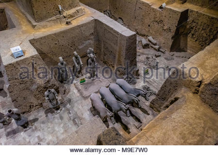 Vault 3 Excavation pits where work is still ongoing at the Terracotta Army of Emperor Qin Shi Huang, the first emperor of China. The Army was buried w - Stock Photo