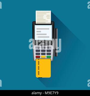 payment terminal on blue - Stock Photo