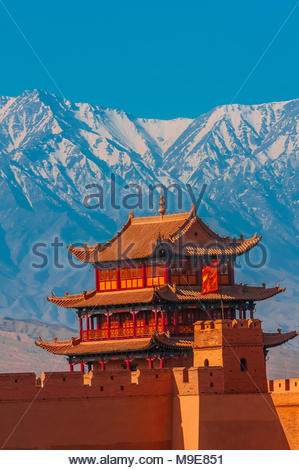 Jiayuguan Fort is the western end of the Great Wall built in the Ming Dynasty (1368 – 1644). It was an important military fortress and  key waypoint o - Stock Photo